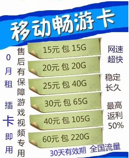 中国移动电信上网流量卡_4g高速流量不限速_0月租_9.9元10g